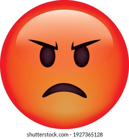 Vector emoji. Angry face. Emoji. Cute emoticon isolated on white background.