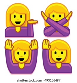 Vector Emoji Girl Set Isolated On White Background