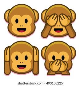 Image vectorielle Ensemble De Singes Emoji Isolés Sur Fond Blanc