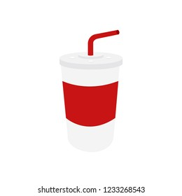 Vector emoji red and white cup with straw