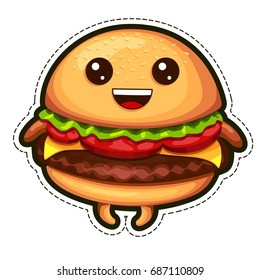 Vector emoji sticker burger. Flat line emoticons fast food.