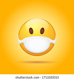Vector Emoji sticker with mouth medical protection mask isolated on orange background. Yellow smile face character with white surgeon mask. Self isolation concept ilustration or icon