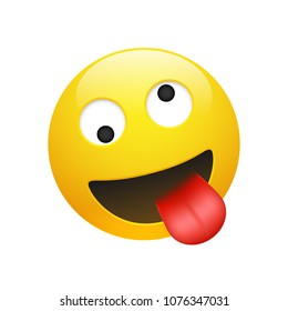 Vector Emoji yellow smiley crazy face with eyes and mouth showing tongue on white background. Funny cartoon Emoji icon. 3D illustration for chat or message.