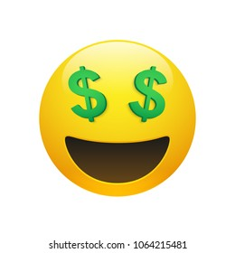 Vector Emoji yellow smiley face with dollar symbol eyes and mouth on white background. Funny cartoon Emoji icon. 3D illustration for chat or message.