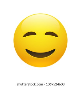 Vector Emoji yellow smiley face with closed eyes and mouth on white background. Funny cartoon Emoji icon. 3D illustration for chat or message.