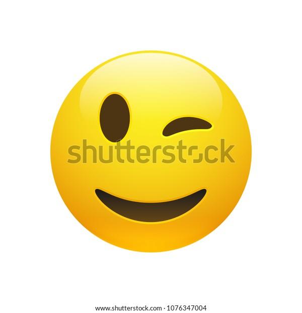 Vektor Emoji gelbe, schmiedegelbe Winde mit Augen und Mund auf weißem Hintergrund. Hübscher Cartoon Emoji Ikone. 3D-Illustration für Chat oder Nachricht.