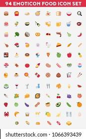 Vector emoticon food set. Vector all emoticon emoji food icon big set