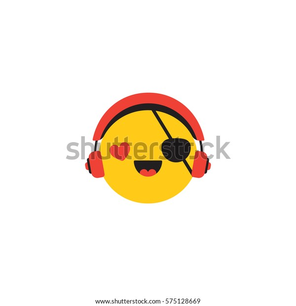 Vector Emoticon Headphones Happy Pirate Music Stock Vector (Royalty