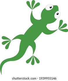Vector emoticon illustration of a cartoon lizard