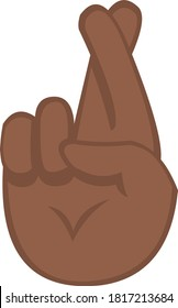 Vector emoticon illustration of a hand crossing fingers