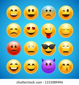 Vector emoticons emoji set. Smile face character for chat web. Funny emoticon.