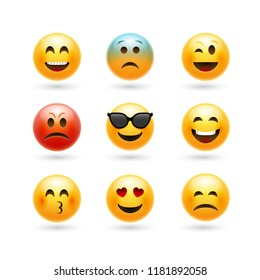 Vector emoticons emoji set. Smile face character for chat web.