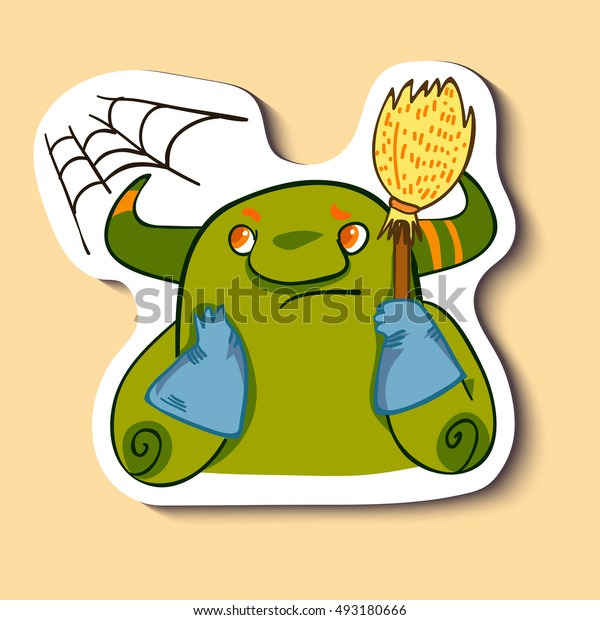 Vector emotion sticker with cleaning cute monster on yellow background. It's time to clean a flat,  house room.