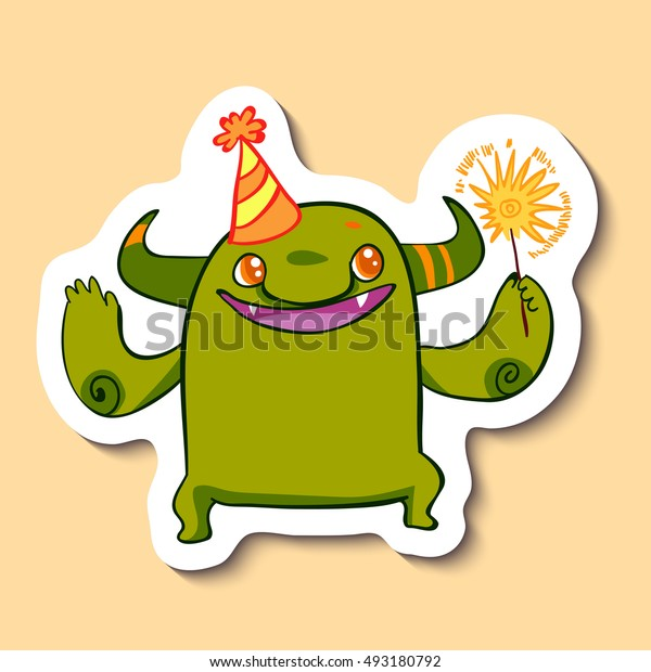 Vector emotion sticker with cute cheerful monster on yellow background. Monster and a sparkler. Little monster and a party hat. Let's have a party.