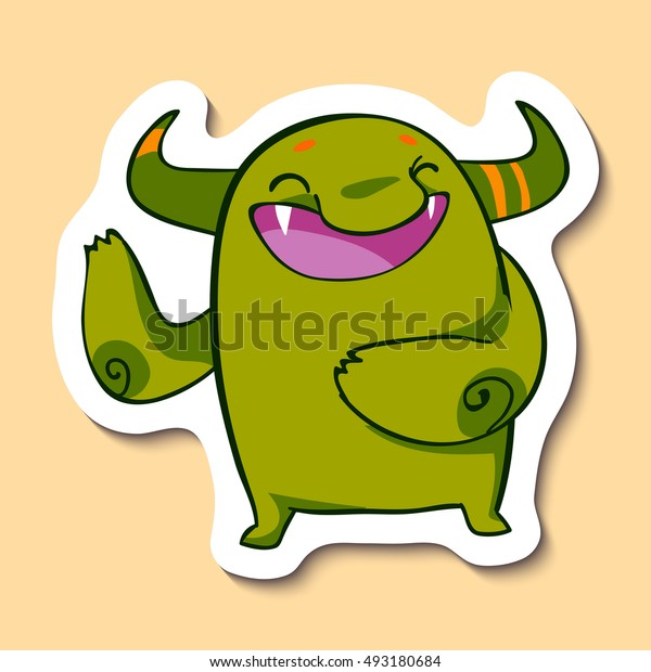 Vector emotion sticker with cute joking monster on yellow background. Laughing monster. Laughing out of a loud