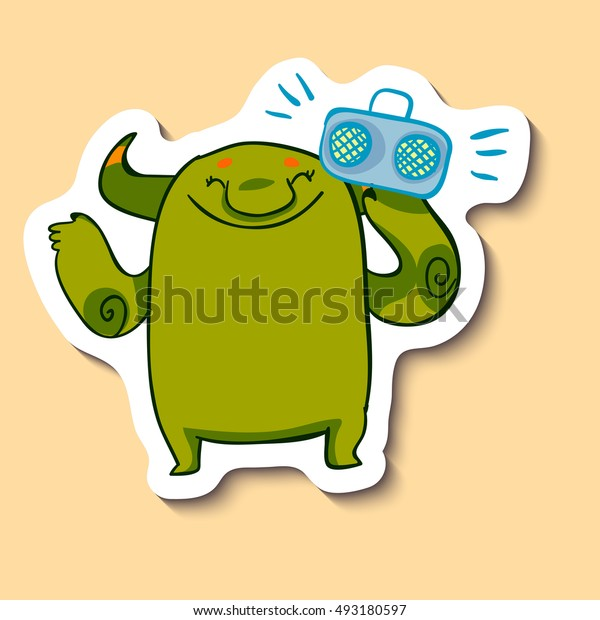 Vector emotion sticker with cute monster listening to music on yellow background. Happy musician monster. Let's have a party.