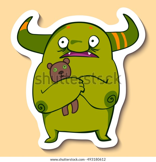 Vector emotion sticker with cute scared monster on yellow background. Scared monster with sweet bear toy.