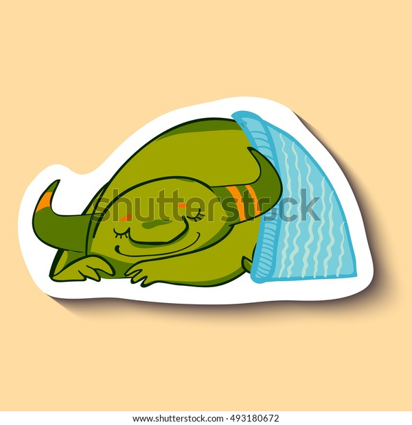Vector emotion sticker with cute sleeping monster on yellow background. Sleeping green monster with blue blanket. Sweet dreams. Good night.