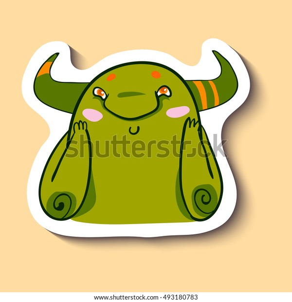 Vector emotion sticker with embarrassment cute monster on yellow background. Embarassed monster with pink cheeks. You're embarassing me!