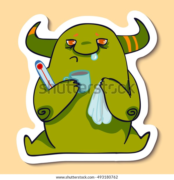 Vector emotion sticker with ill monster on yellow background. High temperature and cold. Headcold monster.