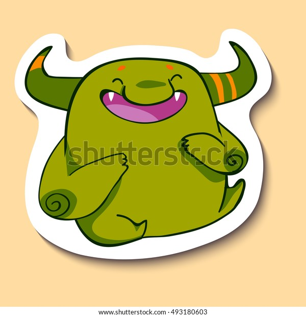 Vector emotion sticker with laughing cute monster on yellow background. Laughing out of a laud guy. Laughing out of a loud. LOL.