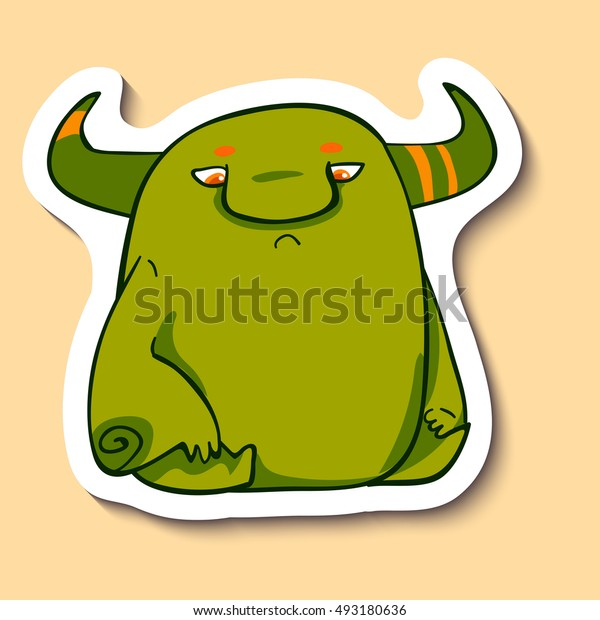 Vector emotion sticker with melancholy cute monster on yellow background. Melancholic creature with purple skin.
