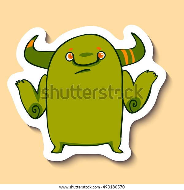 Vector emotion sticker with monster who does not know on yellow background. Unknown information emotion. Don't know.