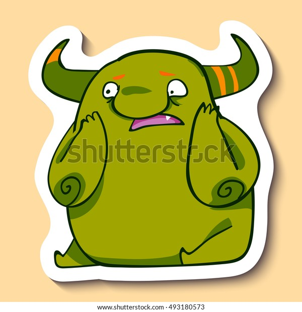 Vector emotion sticker with shocked monster on yellow background. Monster does not know to do. Scared monster. Oh, my god!