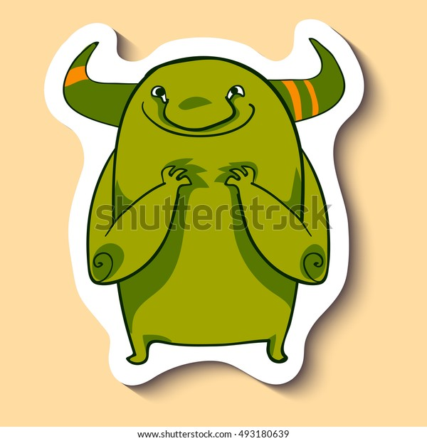 Vector emotion sticker with spiteful monster on yellow background. Creepy spiteful green monster. Evil monster. Evil emotion. Hating.