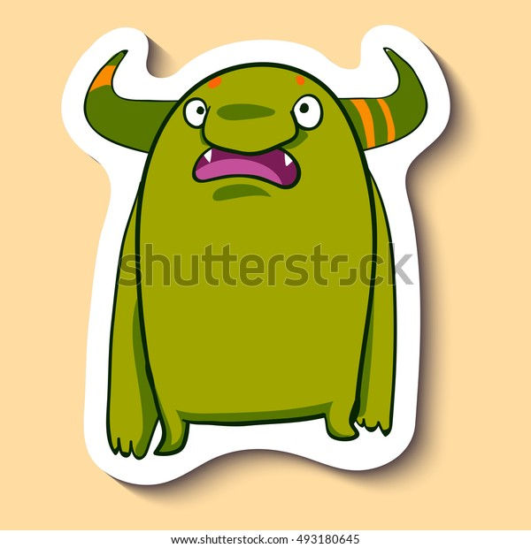 Vector emotion sticker with surprised cute monster on yellow background. This guy is really surprised. WOW.