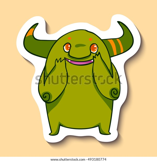 Vector emotion sticker with very happy monster on yellow background. The happiest creature in the world. Cute emotion.