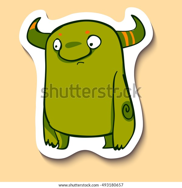 Vector emotion sticker with very shocked monster on yellow background. This creature is really shocked. So shock!