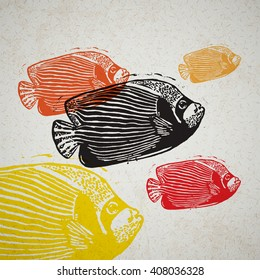 Vector Emperor angelfish in abstract composition. Linocut fishes in different colors on the old paper