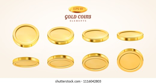 Vector empty 3d gold coins set isolated on background in different positions. Rain of golden coins. Falling or flying money. Bingo jackpot or casino poker or win element. Cash treasure concept.