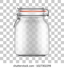 Vector empty Bale Glass Jar with Swing Top Lid and a rubber gasket isolated on transparent background. Realistic illustration.