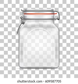 Vector empty Bale Square Glass Jar with Swing Top Lid isolated on transparent background. Realistic illustration.