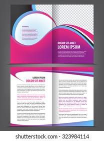 Vector empty bifold brochure print template design with violet pink elements