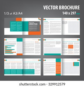 Vector empty bi-fold brochure print template design, bifold bright orange & green booklet or flyer, 12 pages