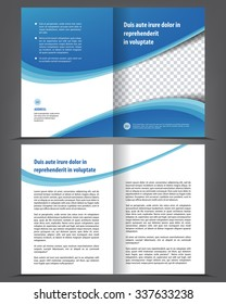 Vector empty bi-fold brochure print template design, newsletter booklet layout