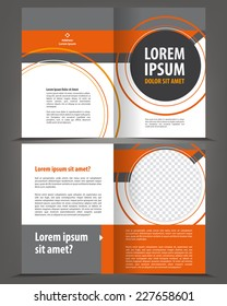 Vector empty bifold brochure template design with orange and gray elements