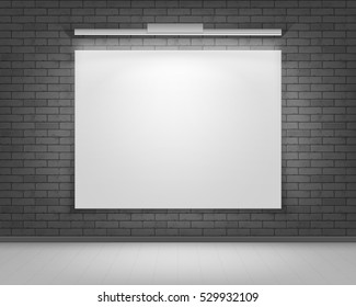 Vector Empty Blank White Mock Up Poster Picture Frame on Black Gray Brick Wall with Floor and Illumination Front View