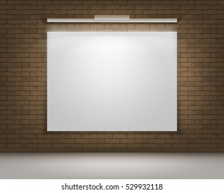 Vector Empty Blank White Mock Up Poster Picture Frame on Brown Gray Brick Wall with Floor and Illumination Front View