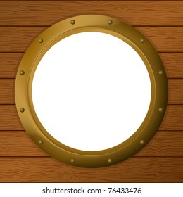Vector empty bronze ship window - porthole in a wooden wall