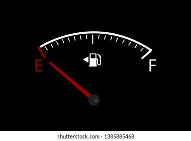Vector of empty car fuel gauge