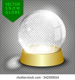 Vector empty christmas snow globe template on transparent background