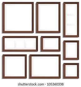 Vector empty frames of wenge wood in various standard formats.