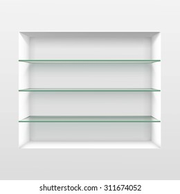 Vector Empty Glass Shelf Shelves Isolated on Wall Background