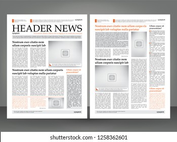 Vector empty newspaper print template design with orange, grey and black elements