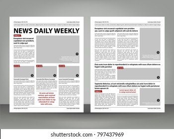 Vector empty newspaper print template design with dark red and black elements
