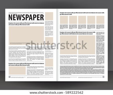 Vector Empty Newspaper Print Template Design With Beige And Black Elements